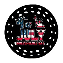 4th Of July Independence Day Round Filigree Ornament (two Sides)
