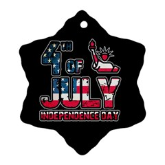4th Of July Independence Day Snowflake Ornament (two Sides)