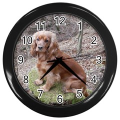 Red Full Cocker Spaniel Wall Clocks (black)