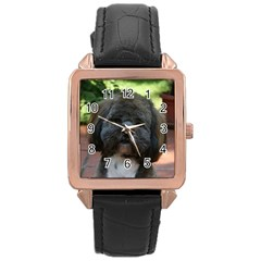 Lhasa Apso Rose Gold Leather Watch