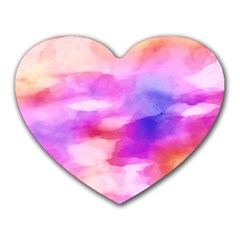 Colorful Abstract Pink And Purple Pattern Heart Mousepads