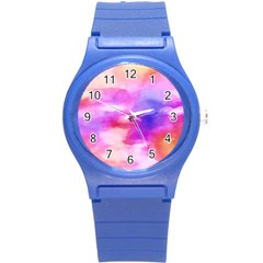 Colorful Abstract Pink And Purple Pattern Round Plastic Sport Watch (s)