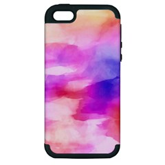 Colorful Abstract Pink And Purple Pattern Apple Iphone 5 Hardshell Case (pc+silicone)