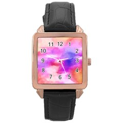 Colorful Abstract Pink And Purple Pattern Rose Gold Leather Watch