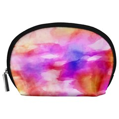 Colorful Abstract Pink And Purple Pattern Accessory Pouches (large)