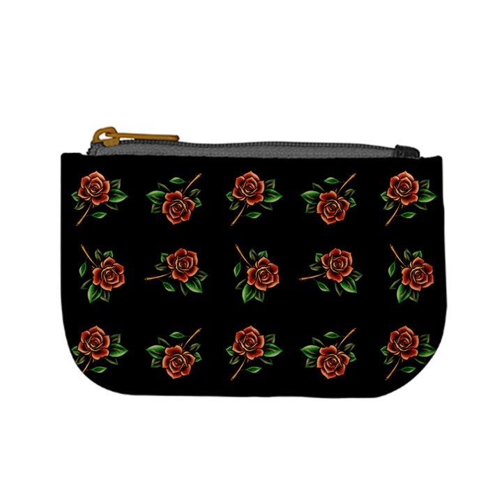 Tattoo Roses Coin Change Purse