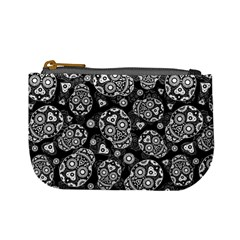 Sugar Skulls   Black And White Coin Change Purse