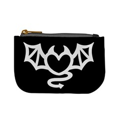 Winged Devil Heart   Black And White Coin Change Purse
