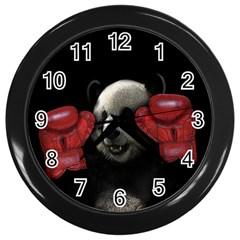 Boxing Panda  Wall Clocks (black)