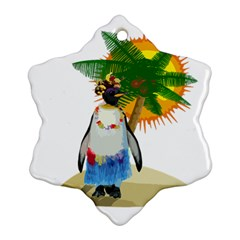 Tropical Penguin Snowflake Ornament (two Sides)
