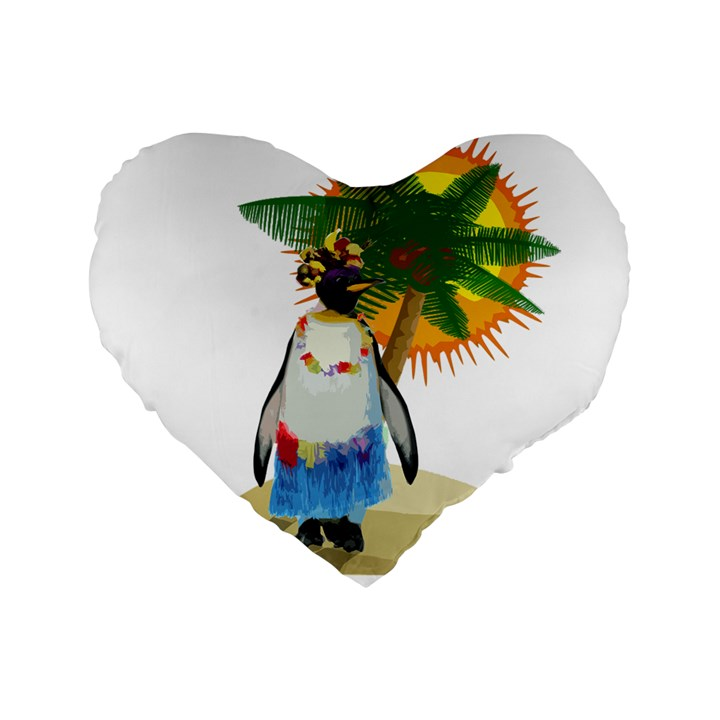 Tropical penguin Standard 16  Premium Flano Heart Shape Cushions
