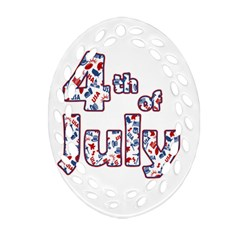4th Of July Independence Day Oval Filigree Ornament (two Sides)