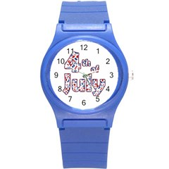 4th Of July Independence Day Round Plastic Sport Watch (s)