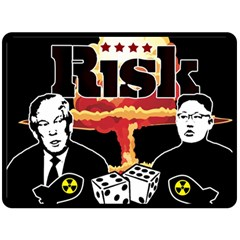 Nuclear Explosion Trump And Kim Jong Double Sided Fleece Blanket (large)