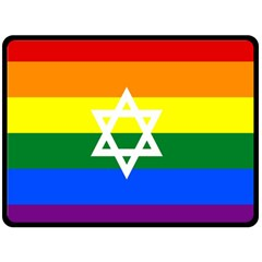 Gay Pride Israel Flag Double Sided Fleece Blanket (large)