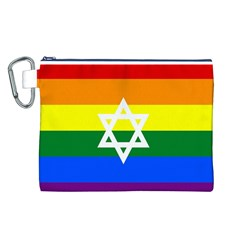Gay Pride Israel Flag Canvas Cosmetic Bag (l)