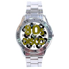 80s Disco Vinyl Records Stainless Steel Analogue Watch