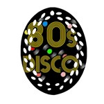 80s disco vinyl records Oval Filigree Ornament (Two Sides) Back