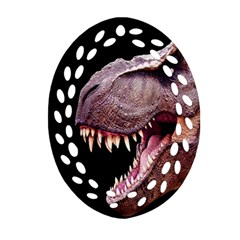 Dinosaurs T Rex Oval Filigree Ornament (two Sides)