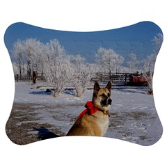 Akita In Snow Jigsaw Puzzle Photo Stand (bow)