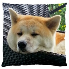 Akita Chilling Large Flano Cushion Case (one Side)