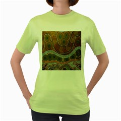 Aboriginal Traditional Pattern Women s Green T Shirt