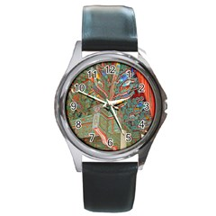 Traditional Korean Painted Paterns Round Metal Watch