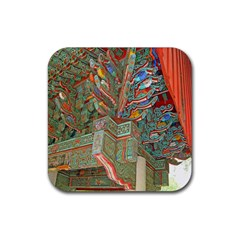 Traditional Korean Painted Paterns Rubber Square Coaster (4 Pack)