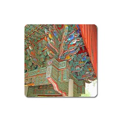 Traditional Korean Painted Paterns Square Magnet