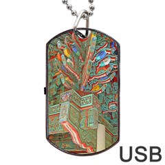 Traditional Korean Painted Paterns Dog Tag Usb Flash (one Side)