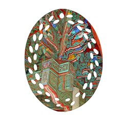 Traditional Korean Painted Paterns Ornament (oval Filigree)