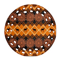 Traditiona  Patterns And African Patterns Round Filigree Ornament (two Sides)