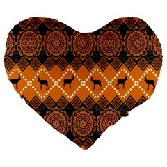 Traditiona  Patterns And African Patterns Large 19  Premium Flano Heart Shape Cushions