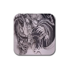 Chinese Dragon Tattoo Rubber Coaster (square)