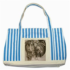 Chinese Dragon Tattoo Striped Blue Tote Bag