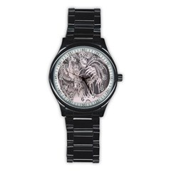Chinese Dragon Tattoo Stainless Steel Round Watch