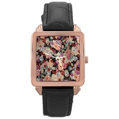Japanese Ethnic Pattern Rose Gold Leather Watch