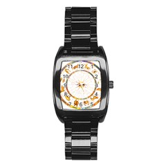 Zodiac  Institute Of Vedic Astrology Stainless Steel Barrel Watch