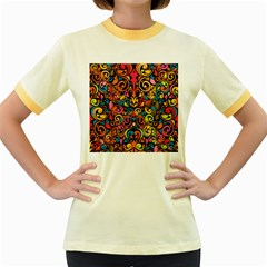 Art Traditional Pattern Women s Fitted Ringer T Shirts