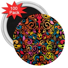 Art Traditional Pattern 3  Magnets (100 Pack)