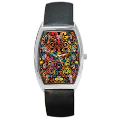 Art Traditional Pattern Barrel Style Metal Watch