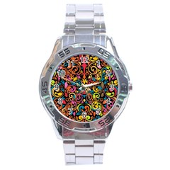 Art Traditional Pattern Stainless Steel Analogue Watch