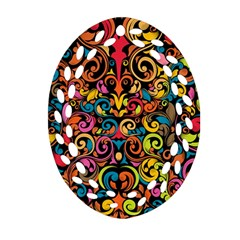 Art Traditional Pattern Oval Filigree Ornament (two Sides)
