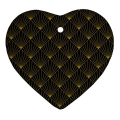 Abstract Stripes Pattern Heart Ornament (two Sides)