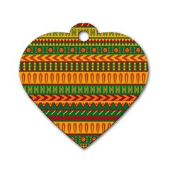 Mexican Pattern Dog Tag Heart (two Sides)