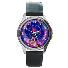 Enchanted Rose Stained Glass Round Metal Watch