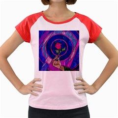 Enchanted Rose Stained Glass Women s Cap Sleeve T Shirt