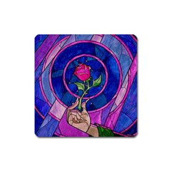 Enchanted Rose Stained Glass Square Magnet