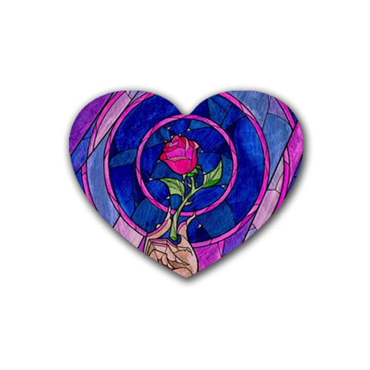 Enchanted Rose Stained Glass Heart Coaster (4 pack)