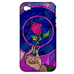 Enchanted Rose Stained Glass Apple Iphone 4/4s Hardshell Case (pc+silicone)